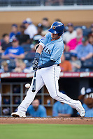 Casey Gillaspie (16) of the Durham Bulls makes contact with the baseball against the Buffalo Bisons at Durham Bulls Athletic Park on April 30, 2017 in Durham, North Carolina.  The Bisons defeated the Bulls 6-1.  (Brian Westerholt/Four Seam Images)