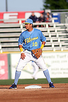 Myrtle Beach Pelicans infielder Edwin Garcia #10 in the field during a game against the Potomac Nationals at Ticketreturn.com Field at Pelicans Ballpark on April 16, 2014 in Myrtle Beach, South Carolina. Potomac defeated Myrtle Beach 7-3. (Robert Gurganus/Four Seam Images)