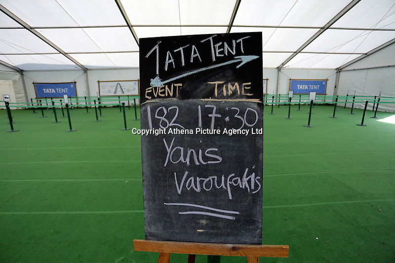 Hay on Wye, UK. Monday 30 May 2016<br />The hand-written blackboard sign for the Former Greek Finance Minister Yanis Varoufakis at the Hay Festival, Hay on Wye, Wales, UK