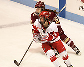 Erin Connolly (BC - 15), Victoria Bach (BU - 12) - The Boston College Eagles defeated the Boston University Terriers 3-2 in the first round of the Beanpot on Monday, January 31, 2017, at Matthews Arena in Boston, Massachusetts.