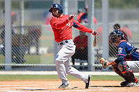 Boston Red Sox shortstop Deven Marrero #7 during a minor league Spring Training game against the Minnesota Twins at JetBlue Park Training Complex on March 27, 2013 in Fort Myers, Florida.  (Mike Janes/Four Seam Images)