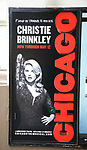 """Marquee Billboard for Christie Brinkley kicking off her third run as """"Roxie Hart"""" in CHICAGO on Broadway at the the Ambassador on April 18, 2019 in New York City."""
