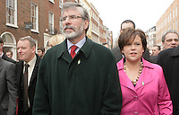 09/03/2011.Sinn fein President Gerry Adams TD & Mary Lou McDonald Sinn Fein TD.during the 1st day of the 31st Dail.at Leinster House,  Dublin..Photo: Gareth Chaney Collins
