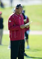 SAN FRANCISCO, CA - April 14, 2012: Head coach David Shaw during the Stanford Cardinal and White Spring Game at Kezar Stadium in San Francisco, CA.