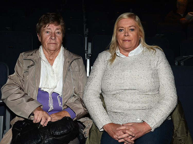 Philomena Tiernan and Roisin Clarke pictured at the Augustinian Gospel Choir show at the Barbican Centre. Photo:Colin Bell/pressphotos.ie