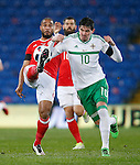 Ashley Williams of Wales battles Kyle Lafferty of Northern Ireland during the international friendly match at the Cardiff City Stadium. Photo credit should read: Philip Oldham/Sportimage