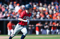 Gonzaga Bulldogs center fielder Guthrie Morrison (5) hustles down the first base line during a game against the Oregon State Beavers on February 16, 2019 at Surprise Stadium in Surprise, Arizona. Oregon State defeated Gonzaga 9-3. (Zachary Lucy/Four Seam Images)
