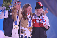OLYMPICS: SOCHI: Medal Plaza, 16-02-2014, Ladies' Snowboard Cross, Chloe Trespeuch (FRA), Eva Samkova (CZE), Dominique Maltais (CAN), ©photo Martin de Jong
