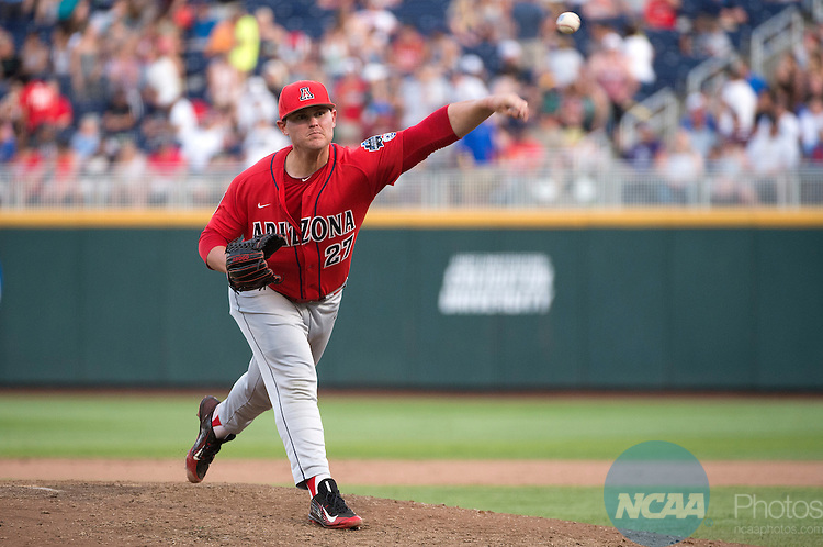 27 JUNE 2016:  JC Cloney (27) of the University of Arizona pitches against Coastal Carolina University during the Division I Men's Baseball Championship held at TD Ameritrade Park in Omaha, NE.  Arizona defeated Coastal Carolina 3-0 in game one.  Jamie Schwaberow/NCAA Photos