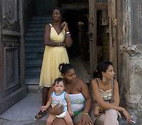 family,street scene in Havana, Cuba