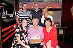 Annie Maher Poulawaddra Tralee celebrating her 70th birthday with family at Gally's Bar on Saturday. Pictured front l-r Debra Duggan, Annie Maher, Laura Duggan back l-r  Mike O'Sullivan, Paul Maher, Svetlina Hudecova