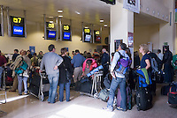 Spain, Canary Islands, La Palma, airport of La Palma, Check-In, queue, waiting line