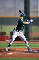 AZL Athletics Green Noah Vaughan (2) at bat during an Arizona League game against the AZL Reds on July 21, 2019 at the Cincinnati Reds Spring Training Complex in Goodyear, Arizona. The AZL Reds defeated the AZL Athletics Green 8-6. (Zachary Lucy/Four Seam Images)