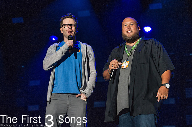 Bobby Bones and Big Smo at LP Field during Day One of the 2014 CMA Music Festival in Nashville, Tennessee.