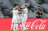 2nd July 2020, Madrid, Spain;  Real Madrids players celebrate after scoring their penalty during the Spanish league football match between Real Madrid and Getafe in Madrid, Spain