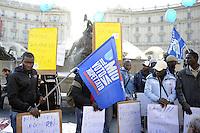 Roma, 26 Novembre 2011.Manifestazione nazionale per il rispetto dell'esito referendario sull'acqua, organizzata dal Forum italiano dei movimenti per l'acqua.Nella foto i migranti di Rosarno