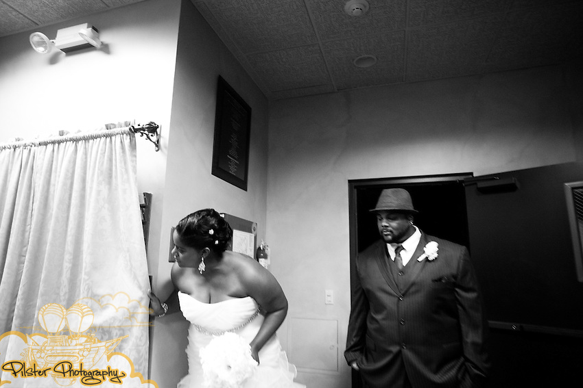 Christinia Lewis and Trevor DeLaney during their wedding on Saturday, October 29, 2011 at the Realtor Conference Center in Melbourne, Florida. They got ready at the Hilton Rialto, then the ceremony at Ryckman Park and the reception at the Realtor Conference Center in Melbourne Florida. (Willie J. Allen Jr. of http://www.PilsterPhotography.net)