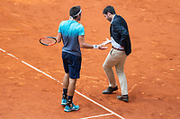 Argentine Leonardo Mayer talking with the referee during Mutua Madrid Open 2018 at Caja Magica in Madrid, Spain. May 10, 2018. (ALTERPHOTOS/Borja B.Hojas) /NORTEPHOTOMEXICO
