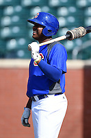 Chattanooga Lookouts third baseman Daniel Mayora (17) during batting practice before a game against the Birmingham Barons on April 24, 2014 at AT&T Field in Chattanooga, Tennessee.  Chattanooga defeated Birmingham 5-4.  (Mike Janes/Four Seam Images)