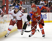 Radko Gudas (Czech Republic - 3), Pavel Chernov (Russia - 10) - Russia defeated the Czech Republic 5-1 on Friday, January 2, 2009, at Scotiabank Place in Kanata (Ottawa), Ontario, during the 2009 World Junior Championship.