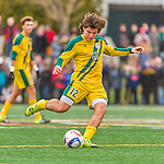 15 November 2015: University of Vermont Catamount Forward Jaime Miralles, a Sophomore from Vinaros, Spain, in action against the Binghamton University Bearcats at Virtue Field in Burlington, Vermont. The Catamounts shut out the Bearcats 1-0 in the America East Championship Game. Mandatory Credit: Ed Wolfstein Photo *** RAW (NEF) Image File Available ***