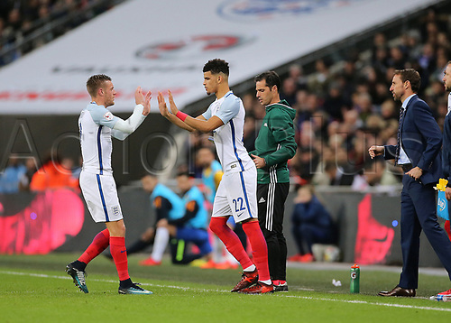 14th November 2017, Wembley Stadium, London, England; International football friendly, England versus Brazil; Jamie Vardy of England is substituted for Dominic Solanke of England
