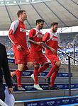 14.04.2018, OLympiastadion, Berlin, GER, 1.FBL, Hertha BSC VS. 1.FC Koeln, im Bild <br /> Dominique Heintz (1.FC Koeln #3), Leonardo Bittencourt (1.FC Koeln #21), Marco Hoeger (1.FC Koeln #6)<br /> <br /> <br />       <br /> Foto &copy; nordphoto / Engler