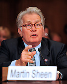 """Actor Martin Sheen testifies during a hearing before the United States Senate Committee on the Judiciary Subcommittee on Crime and Terrorism on """"Drug and Veterans Treatment Courts: Seeking Cost-Effective Solutions for Protecting Public Safety and Reducing Recidivism"""" in Washington, D.C. on Tuesday, July 19, 2011..Credit: Ron Sachs / CNP"""