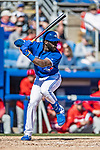 6 March 2019: Toronto Blue Jays outfielder Anthony Alford at bat during a Spring Training game against the Philadelphia Phillies at Dunedin Stadium in Dunedin, Florida. The Blue Jays defeated the Phillies 9-7 in Grapefruit League play. Mandatory Credit: Ed Wolfstein Photo *** RAW (NEF) Image File Available ***
