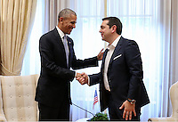 Pictured: Barack Obama during his meeting with Greek Prime Minister Alexis Tsipras at the Maximou Mansion in Athens, Greece. Tuesday 15 November 2016<br /> Re: US President Barack Obama state visit to Greece