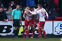 Danny Newton of Stevenage is congratulated by his team mates after scoring the equalising goal during Stevenage vs Luton Town, Sky Bet EFL League 2 Football at the Lamex Stadium on 10th February 2018