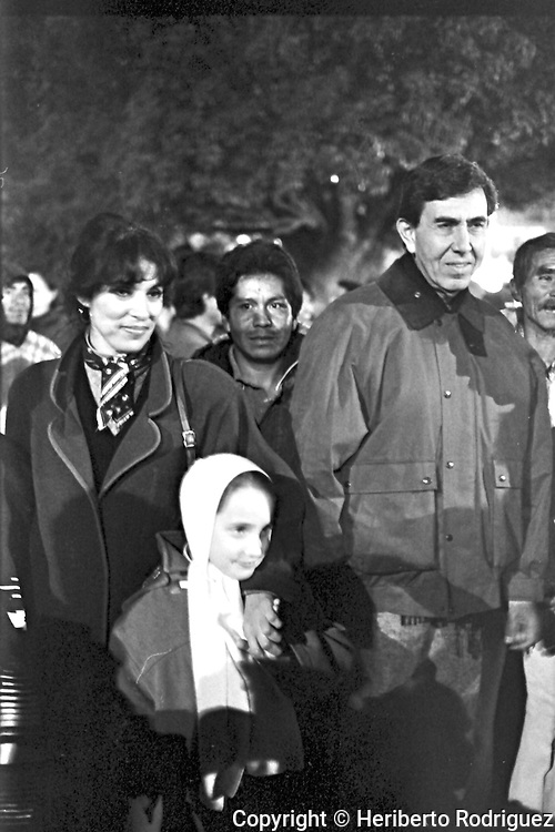 Archive photo of Cuauhtemoc Cardenas, his wife Celeste Batel and his daughter Camila Cardenas, as they support Andres Manuel Lopez Obrador at San Benjamin Contla in Tlaxcala State, December 31, 1991. Lopez Obrador started a rally named Exodus for Democracy against an electoral fraud, by then ruling party PRI, from his natal state of Tabasco to Mexico City.  © Photo by Heriberto Rodriguez