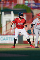 Erie SeaWolves Kody Clemens (8) leads off first base during an Eastern League game against the Richmond Flying Squirrels on August 28, 2019 at UPMC Park in Erie, Pennsylvania.  Richmond defeated Erie 6-4 in the first game of a doubleheader.  (Mike Janes/Four Seam Images)