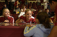 24 September 2005: Alex Fisher and Erin Waller during Stanford's 30-22, 31-29, 30-26 win against UCLA Bruins at Maples Pavilion in Stanford, CA