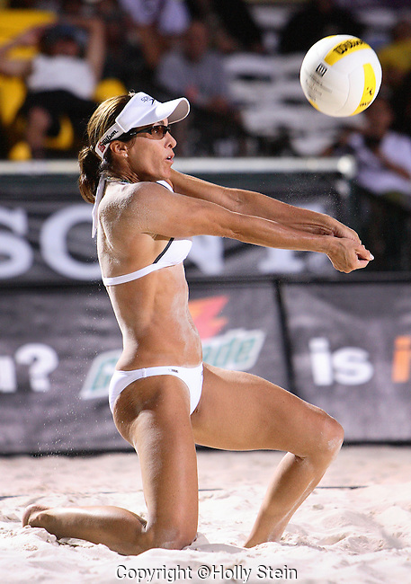 Holly McPeak digs the ball during the AVP Las Vegas Open.