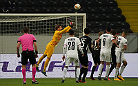 Torwart Kevin Trapp (Eintracht Frankfurt) klärt - 12.03.2020: Eintracht Frankfurt vs. FC Basel, UEFA Europa League, Achtelfinale, Commerzbank Arena<br /> DISCLAIMER: DFL regulations prohibit any use of photographs as image sequences and/or quasi-video.