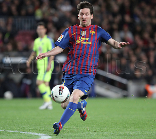 10.04.2012 Bacelona, Spain. La Liga. Picture shows Leo Messi  in action during match between FC Barcelona against Getafe at Camp Nou . Barcelona easily won the game by a score of 4-0.