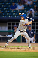 Midland RockHounds center fielder Brett Vertigan (17) at bat during a game against the Northwest Arkansas Naturals on May 27, 2017 at Arvest Ballpark in Springdale, Arkansas.  NW Arkansas defeated Midland 3-2.  (Mike Janes/Four Seam Images)