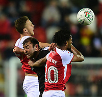 Lincoln City's Matt Rhead vies for possession with Rotherham United's Will Vaulks, left, and Rotherham United's Michael Ihiekwe<br /> <br /> Photographer Chris Vaughan/CameraSport<br /> <br /> The Carabao Cup First Round - Rotherham United v Lincoln City - Tuesday 8th August 2017 - New York Stadium - Rotherham<br />  <br /> World Copyright &copy; 2017 CameraSport. All rights reserved. 43 Linden Ave. Countesthorpe. Leicester. England. LE8 5PG - Tel: +44 (0) 116 277 4147 - admin@camerasport.com - www.camerasport.com