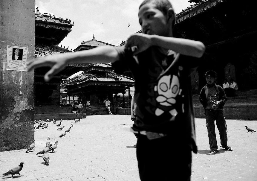 Young Nepali boys in Durbar Square, Kathmandu, July 2011. Photo: Ed Giles.
