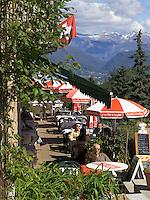 CHE, Schweiz, Tessin, Carona: Restaurant im Botanischen Park San Grato mit Blick auf den Luganer See | CHE, Switzerland, Ticino, Carona: Restaurant at Botanical Park San Grato with view at Lake Lugano