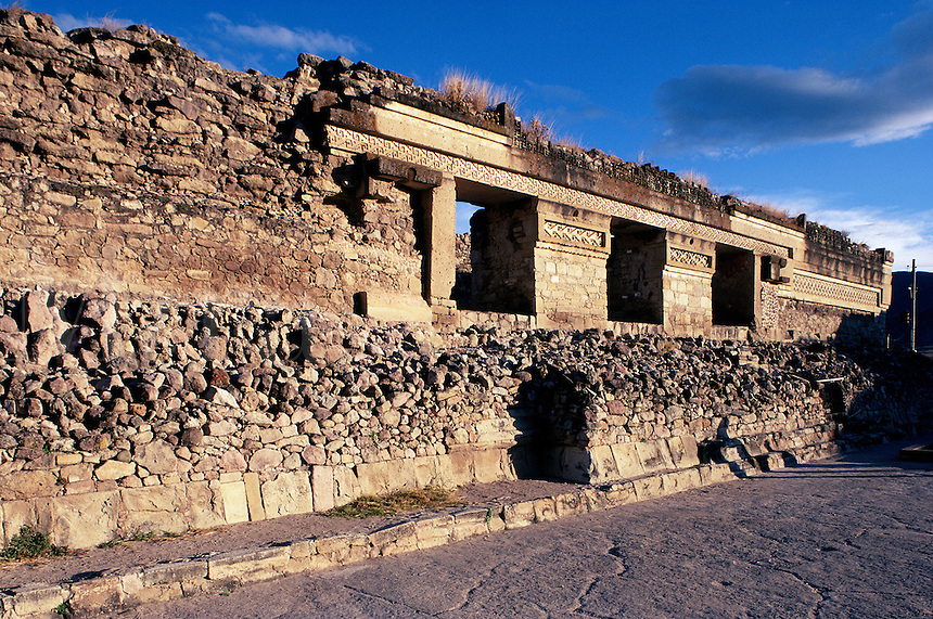 Zapotec stone ruins with intense blue sky #7184. Mitla Oaxaca, Mexico.