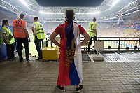 KAZAN, RUSSIA - June 24, 2018: A Russia fan watches the action of the field during the 2018 FIFA World Cup group stage match between Colombia and Poland at Kazan Arena.