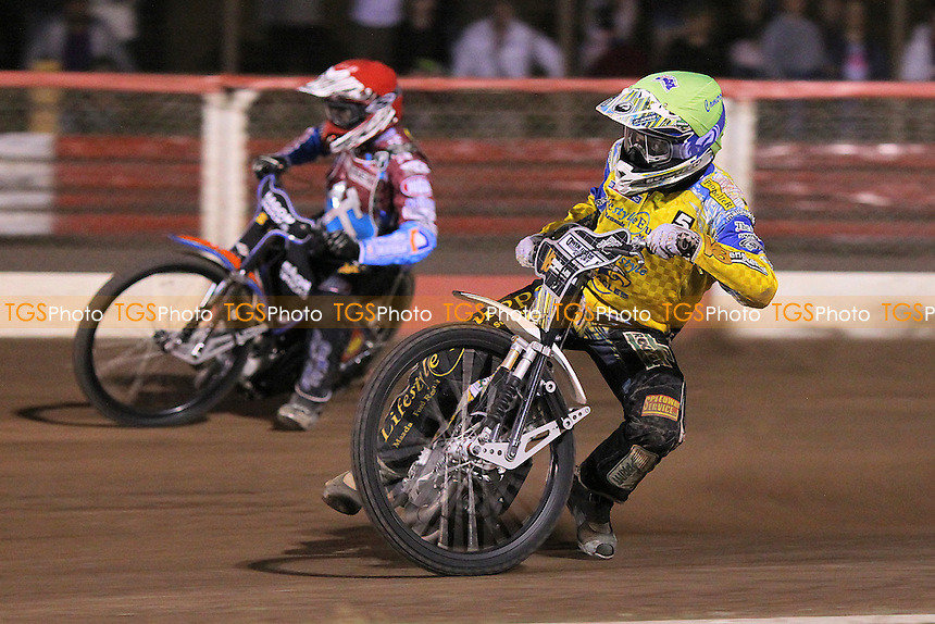 Heat 10: Woodward (yellow) and Karlsson - Lakeside Hammers vs Eastbourne Eagles - Sky Sports Elite League Speedway at Arena Essex Raceway, Purfleet - 09/08/13 - MANDATORY CREDIT: Gavin Ellis/TGSPHOTO - Self billing applies where appropriate - 0845 094 6026 - contact@tgsphoto.co.uk - NO UNPAID USE