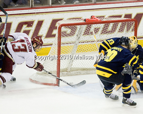 Cam Atkinson (BC - 13) scores his second goal of the game making it 5-0 in the second period. - The Boston College Eagles defeated the Merrimack College Warriors 7-0 on Tuesday, February 23, 2010 at Conte Forum in Chestnut Hill, Massachusetts.