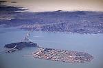 Aerial over Treasure Island, San Francisco Bay, and downtown San Francisco, California (c.2003)