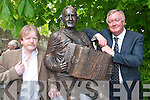 Sculptor Mike Kenny, Castleisland, and Minister John ODonoghue at the Johnny OLeary monument in Killarney last Saturday..