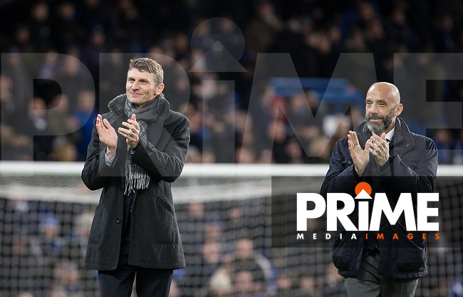 Tore André Flo & Gianluca Vialli (right) during the Premier League match between Chelsea and West Bromwich Albion at Stamford Bridge, London, England on 12 February 2018. Photo by Andy Rowland.