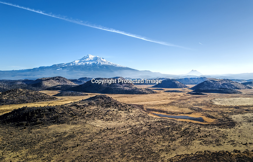 Winter time aerial shots of the Mount Shasta area.
