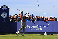 Sergio Garcia (Team Europe) on the 11th tee during Saturday Foursomes at the Ryder Cup, Le Golf National, Ile-de-France, France. 29/09/2018.<br /> Picture Thos Caffrey / Golffile.ie<br /> <br /> All photo usage must carry mandatory copyright credit (© Golffile | Thos Caffrey)